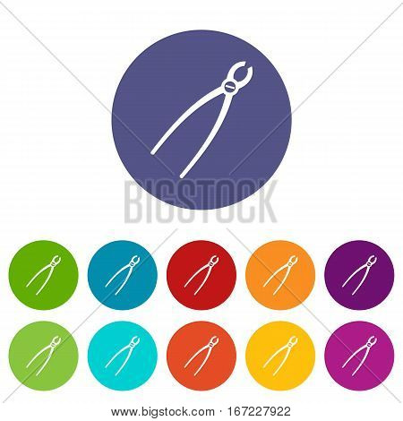 Tooth extraction instrument set icons in different colors isolated on white background
