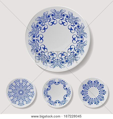 Realistic Plate Vector Set. Closeup Porcelain Tableware Isolated. Ceramic Kitchen Dish Top View. Cooking Template For Food Presentation.