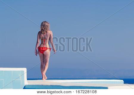 Sexy Blond Girl At Summer Resort