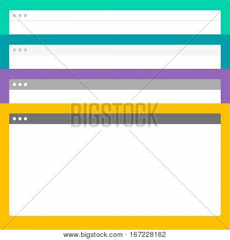 Abstract Design Vector Browsers. Browsers Set Illustration. Flat Applications.