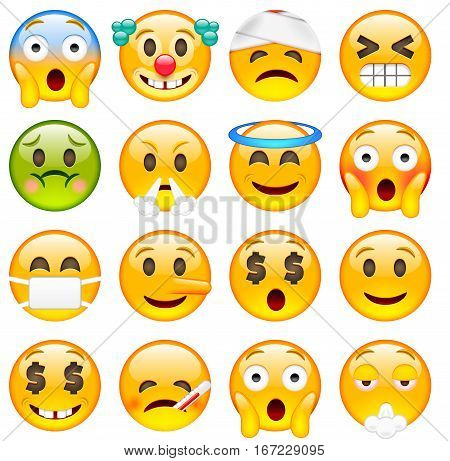 Set Of Emoticons. Sixteen Smile Icon.