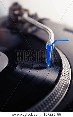 Disc Jockey Turntable Record Player Playing Music