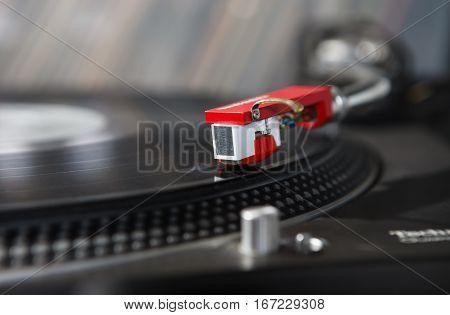 Dj Turntable Vinyl Record Player Close Up