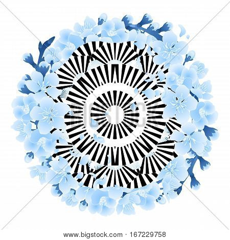 Abstract circle ornament made of contrast striped fans and decorated with blue sakura flowers. Tattoo art or t-shirt design