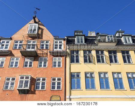 Two Art Nouveau buildings of Nyhavn in Copenhagen
