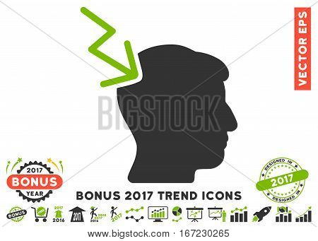 Eco Green And Gray Head Electric Strike icon with bonus 2017 year trend icon set. Vector illustration style is flat iconic bicolor symbols, white background.