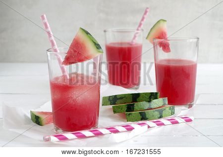 fresh cold smoothie with water melon and ice cube