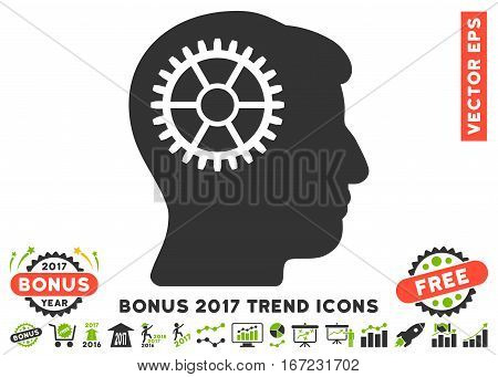 Eco Green And Gray Intellect Cog icon with bonus 2017 year trend pictures. Vector illustration style is flat iconic bicolor symbols, white background.