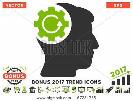 Eco Green And Gray Intellect Gear Rotation pictograph with bonus 2017 trend pictograms. Vector illustration style is flat iconic bicolor symbols, white background.