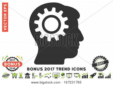 Eco Green And Gray Intellect Gear pictogram with bonus 2017 year trend design elements. Vector illustration style is flat iconic bicolor symbols, white background.