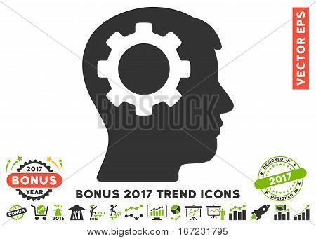 Eco Green And Gray Intellect Gear pictogram with bonus 2017 trend design elements. Vector illustration style is flat iconic bicolor symbols, white background.