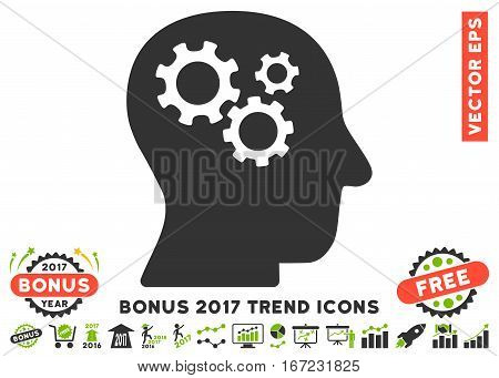 Eco Green And Gray Intellect Gears pictogram with bonus 2017 year trend pictures. Vector illustration style is flat iconic bicolor symbols, white background.