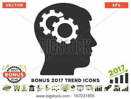 Eco Green And Gray Intellect Gears icon with bonus 2017 year trend images. Vector illustration style is flat iconic bicolor symbols, white background.