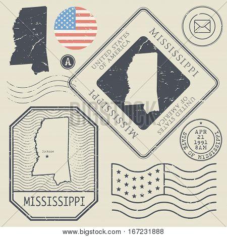 Retro vintage postage stamps set Mississippi United States theme vector illustration