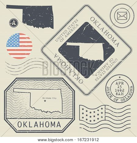 Retro vintage postage stamps set Oklahoma United States theme vector illustration