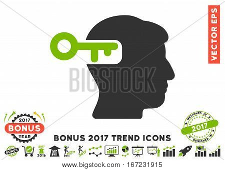 Eco Green And Gray Intellect Key pictogram with bonus 2017 year trend pictures. Vector illustration style is flat iconic bicolor symbols, white background.