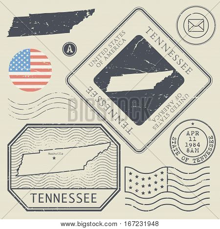 Retro vintage postage stamps set Tennessee United States theme vector illustration