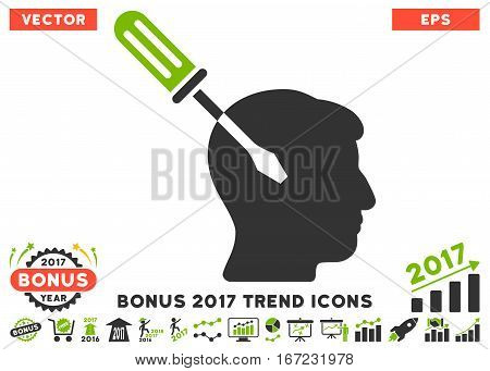 Eco Green And Gray Intellect Screwdriver Tuning pictograph with bonus 2017 trend pictograms. Vector illustration style is flat iconic bicolor symbols, white background.