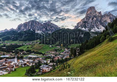 Corvara village and Badia Valley in summer Alto Adige Italy