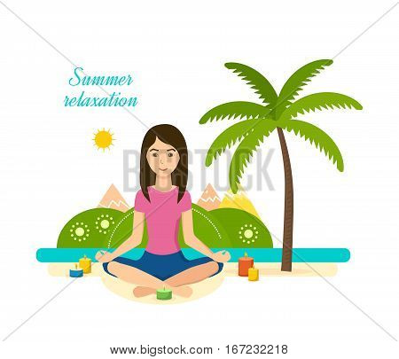 The girl is engaged in the lotus position in yoga and meditation, rest and recuperate, tropical summer, outdoors, with candles. Vector illustration. Can be used as banner, commercial materials.