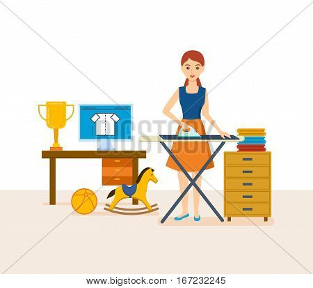 Young housewife engaged in household chores, cleaned, strokes things, in a cozy setting, against the background of an interior room. Vector illustration. Can be used in banner, mobile app, design.