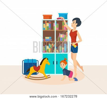 Young mum housewife is engaged in cleaning the room, wiping dust in the closet, baby daughter creeps on the floor and play, against the background of an interior room. Vector illustration.