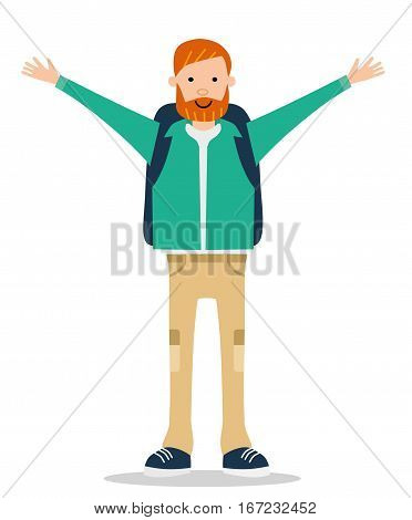 The red-bearded young man in a jacket happily waving his hands. Cartoon flat vector illustration