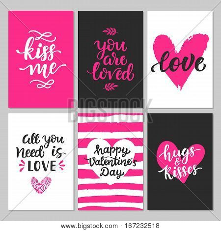 Happy Valentines Day typography set with hand drawn lettering. Vector calligraphy for greeting cards, posters and planner stickers. Kiss me, Hugs and kisses, You are loved, All you need is love.