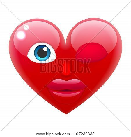 Winking Heart Girl Smile Emoticon. Winking Heart Girl Emoji