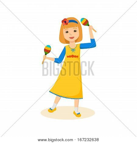 Children and good mood concept. Little girl in a beautiful festive attire, dancing, keeps maracas and cute smiling. Cartoon vector illustration isolated on white background.