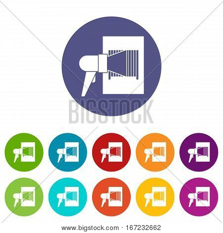 Bar code on cargo set icons in different colors isolated on white background