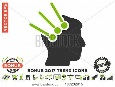 Eco Green And Gray Neural Interface Connectors icon with bonus 2017 year trend clip art. Vector illustration style is flat iconic bicolor symbols, white background.