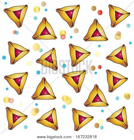 Pattern Purim. Happy Purim greeting card. Purim Jewish Holiday pattern with stars of David of traditional hamantaschen cookies on festive confetti background. Vector illustration