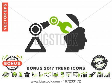 Eco Green And Gray Open Head Surgery Manipulator icon with bonus 2017 trend pictograms. Vector illustration style is flat iconic bicolor symbols, white background.