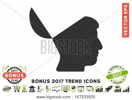 Eco Green And Gray Open Mind pictogram with bonus 2017 trend symbols. Vector illustration style is flat iconic bicolor symbols, white background.