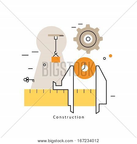 Project management with working caliper flat line business vector illustration design banner. Engineering, building and measurement concept for mobile and web graphics