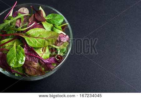 Fresh green salad with spinach arugula chard leaves lettuce. Mixed salad leaves on dark background. Healthy food healthy lifestyle and diet concept. Top view. Copy space