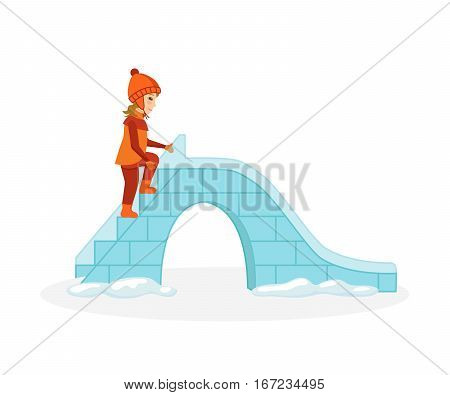 Concept - kids favorite winter activities. Girl in winter clothes gets on the ice hill to ride on it. Vector illustration. Can be used in banner, mobile app, design.