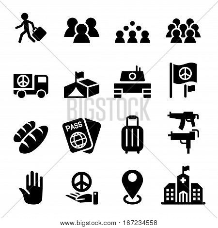 immigration immigrant refugee icon set vector graphic