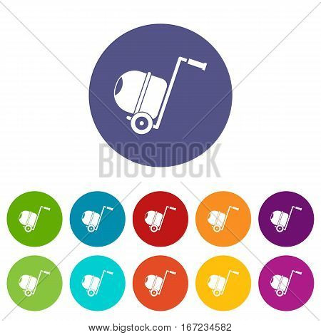 Concrete mixer set icons in different colors isolated on white background