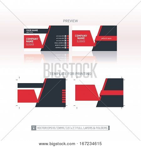 Vector business card template. One-to-one dimensions for printing. Isolated modern vector background. Full layers and folders.