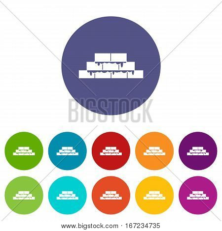 Brickwork set icons in different colors isolated on white background