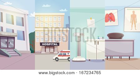 Medicine vertical banners with medical center hospital ambulance car and doctor offices vector illustration
