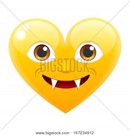 Vampire Heart Smile Emoticon. Vampire Heart Emoji