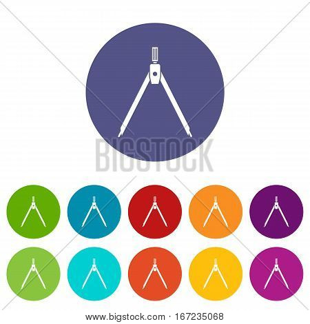 Drawing compass set icons in different colors isolated on white background