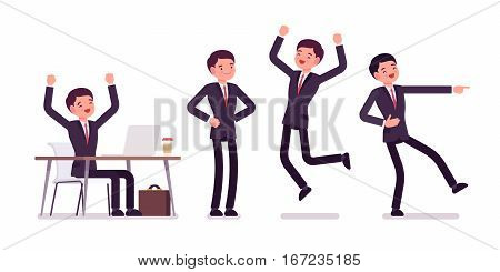 Young happy businessman sitting at the desk with computer, raised hands, standing in akimbo pose, jumping with joy, pointing with finger and laughing, full length, front and rear view, isolated