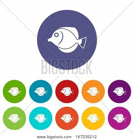 Tang fish, Zebrasoma flavescens set icons in different colors isolated on white background