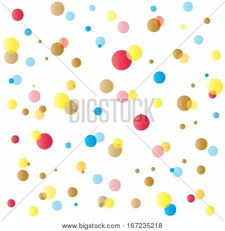 Confetti Purim festive pattern. Happy Purim greeting card background. Purim Jewish Holiday festival multicolored confetti isolated on white background. Vector illustration template