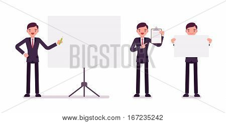 Set of young happy businessmen in formal wear, standing near empty whiteboard, holding frame, paper and poster for copyspace, presentation of information, full length, isolated, white background