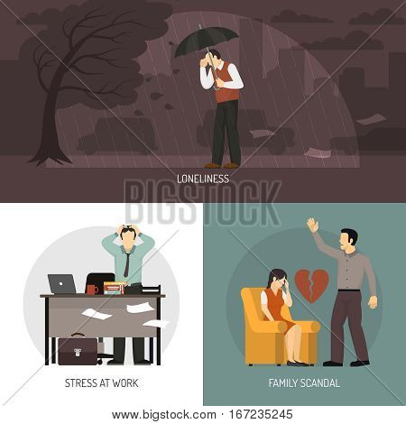 Depression 2x2 design concept with loneliness stress at work and family scandal compositions flat vector illustration